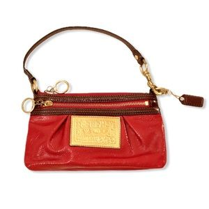 Coach Poppy Wristlet Red Patent Leather Clutch